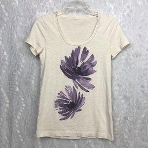 J. Crew cream lavender floral beaded graphic tee S